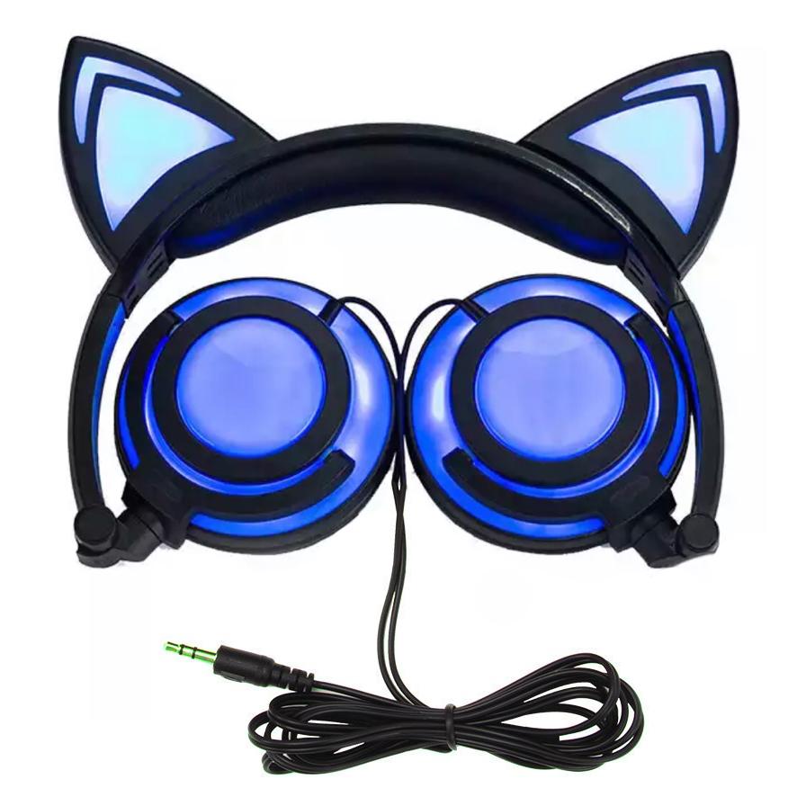 Светящиеся наушники Bordo с кошачьими ушками BL108 Blue