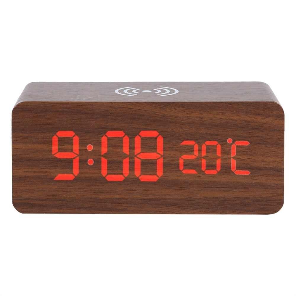 Деревянные светодиодные часы Bordo с беспроводной зарядкой Wood Wireless clock