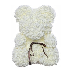 Мишка из роз 25см UFT Bear Flowers UFT BB1 White