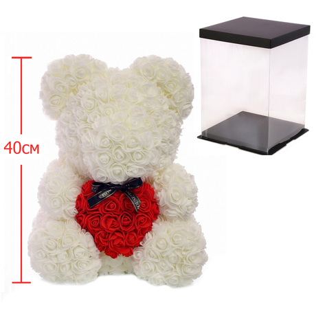 Мишка из роз c сердцем 40см UFT Bear Flowers UFT B2 White