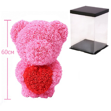 Мишка из роз c сердцем 60см UFT Bear Flowers UFT BS3 Pink
