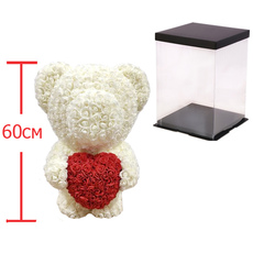 Мишка из роз c сердцем 60см UFT Bear Flowers UFT BS3 White